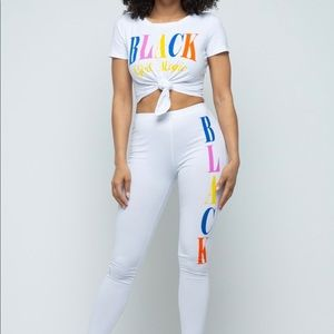 Graphic crop top and pants set
